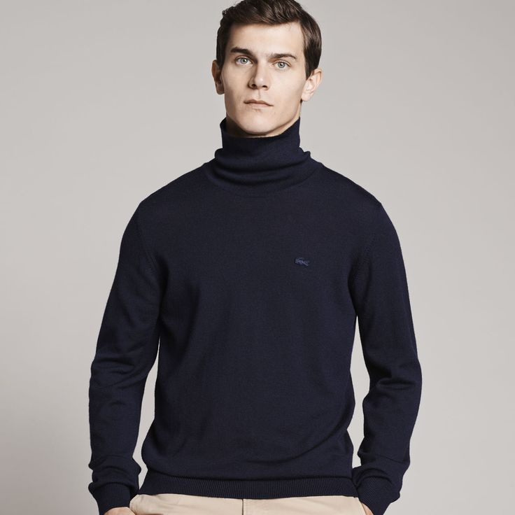 Mens' Turtleneck Wool Jersey Sweater