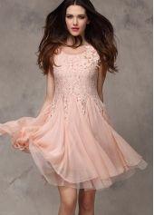 Pretty Cap Sleeve A Line Design Pink Chiffon Dress