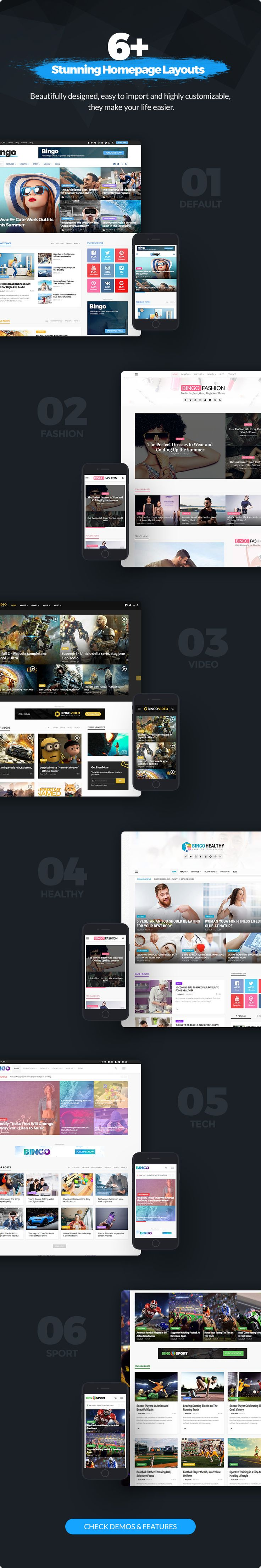 Bingo is a Multi-Purpose Newspaper, Magazine WordPress Theme best suited for sites that deliver news about     Technology, Fashion, Sport, Video, Heal…