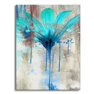 'Painted Petals LII' Painting Print on Wrapped Canvas