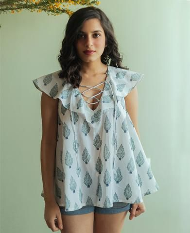 White and Teal Hand Block Printed Top