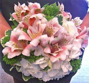 White Hydrangea With Pink Alstroemeria Wedding Bouquet