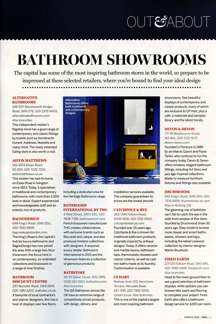 Alternative Bathrooms flagship store has a good range of contemporary and classic fittings. alternativebathrooms.com Homes & Gardens March 2018