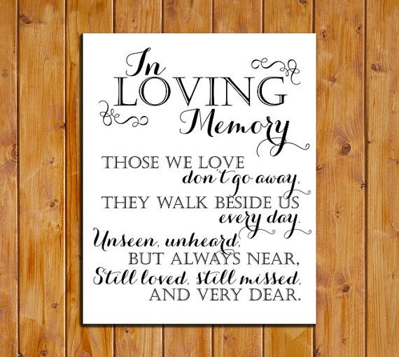 In Loving Memory Printable Sign for Wedding by dodidoodles on Etsy, $5.00
