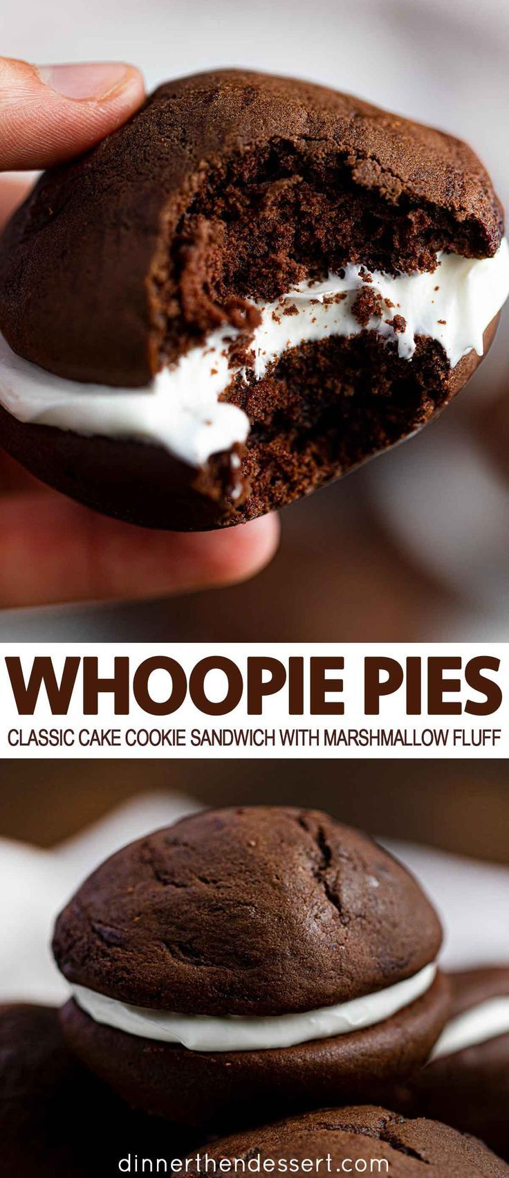 Whoopie Pies are a rich chocolate cake cookie sand…