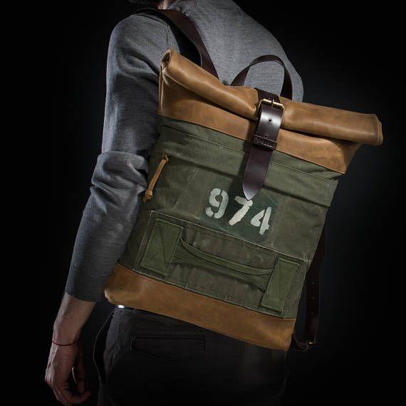 Uno de tipo mochila lona y cuero mochila mochila superior
