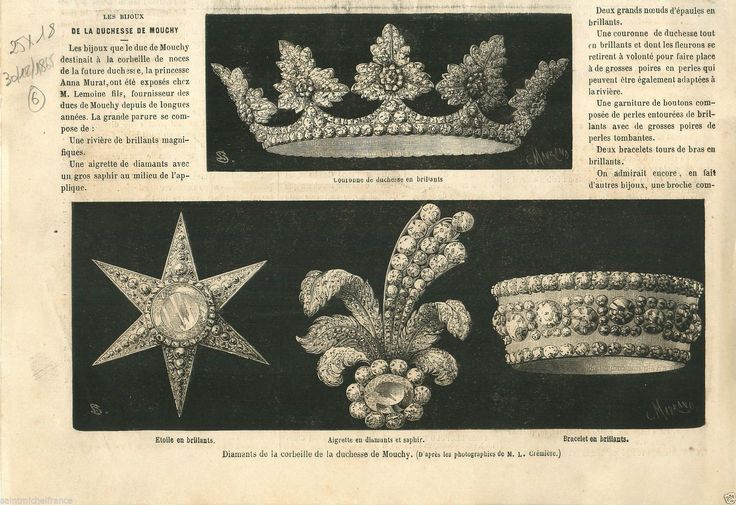 Wedding gifts of the Duchesse de Mouchy, made by Lemoine, a Parisian jeweller and medal maker  French PRINT 1865