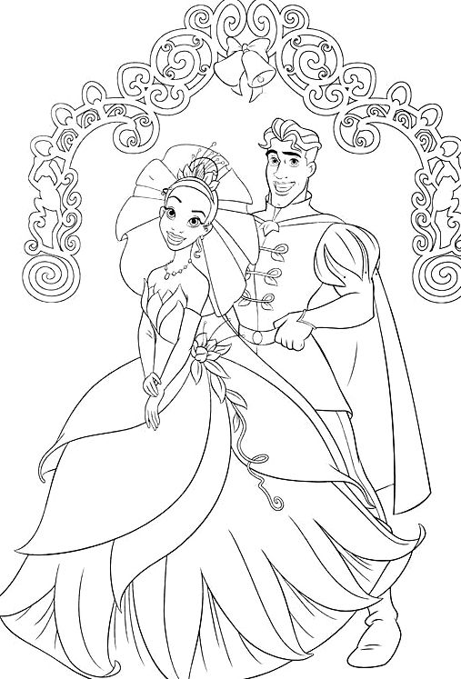 princess tiana and the frog prince ready to marry coloring