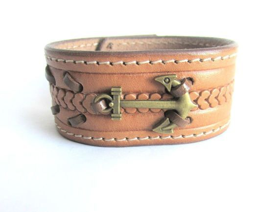Mens anchor bracelet mens leather cuff bracelet bronze