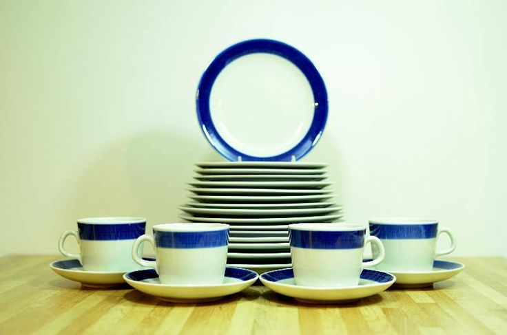 Midcentury Koka Blue Rorstand Sweden Ceramic 24 Piece Dinnerware Set:  Serving for Four by VintageRescuer on Etsy