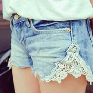 blue jean shorts with lace <3