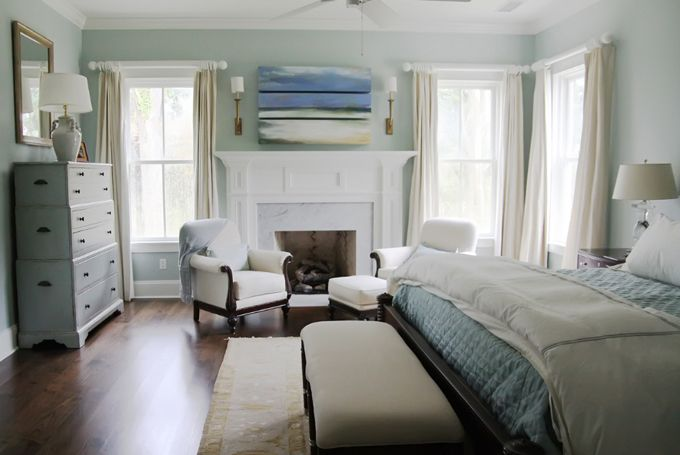 Nice fireplace surroundDreams Bedrooms, Wall Colors, Relaxing Bedrooms, Urban Grace, Bedrooms Colors, Blue Bedrooms, Colors Schemes, Master Bedrooms, House