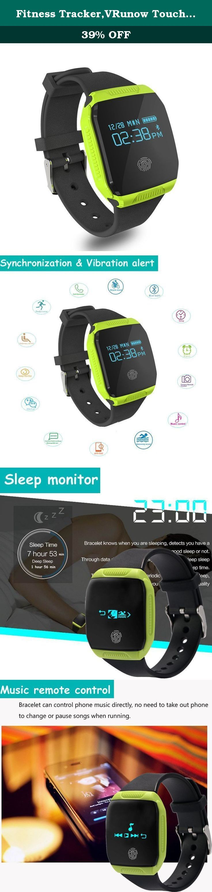Fitness Tracker,VRunow Touch Key Fitness Tracker Watch Multi-sport Tracker, Swimming Tracker Activity Tracker Bracelet Pedometer Sleep Monitor. Feature: Keep connected with smartphone through Bluetooth Touch key and turn wrist operated, wristband and body can be detached. Function: Pedometer/Kilometer/calorie record, Riding record, Swimming record, Jumping rope record, Jumping Jack record, Sit-up record, Treadmill record, sleep monitor, Music remote control, Camera&Video remote control...