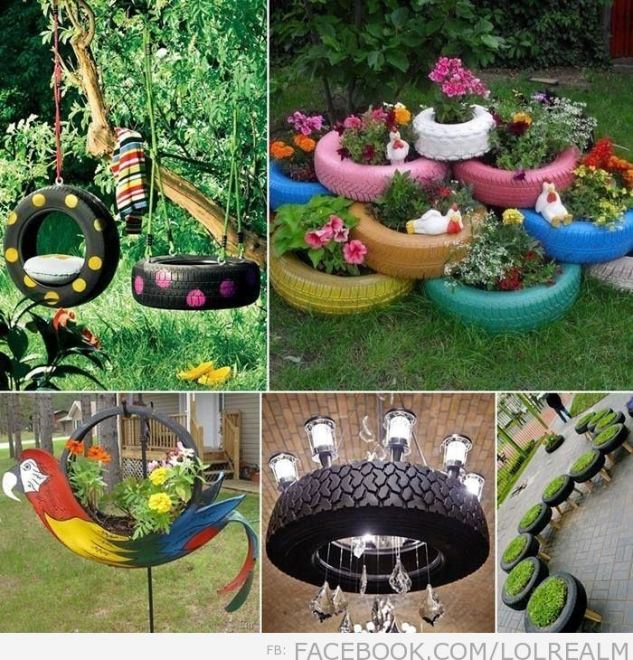23 best images about recycled on pinterest planters towels and fan blades - Garden ideas using tyres ...