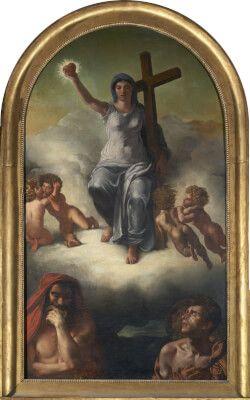 Delacroix (1821, Le triomphe de la Religion), alors jeune inconnu, se voit confier cette commande faite à Géricault ; dans le geste de la Vierge, une 1ère version de celui de sa célèbre Liberté guidant le peuple. UN FAUX GÉRICAULT mais UN VRAI DELACROIX--ARTIPS