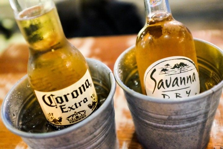 South Africa's Savanna Dry Cider and Mexico's Corona Extra and South Africa's Savanna Dry Cider at Frisky Goat, TTDI.