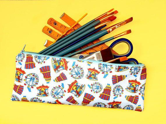 Funfair pencil case  long pencil pouch  colourful project