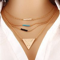Gold-Plated Fatima Hand 3 Layer Chain Bar Necklace