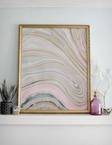 Marbled paper is all the rage. You can pick it up at many paper and stationery shops! Pop the pretty print into a frame and you've got instant art to brighten any space.
