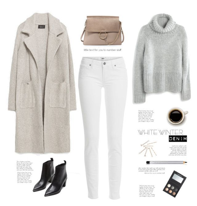 """White winter jeans"" by yexyka ❤ liked on Polyvore featuring Paige Denim, Zara, Madewell, Colorescience, Acne Studios, Chloé and LORAC"