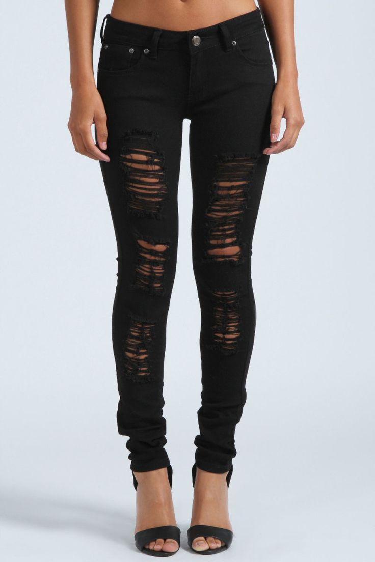 Sexy Black Ripped Skinny Jeans