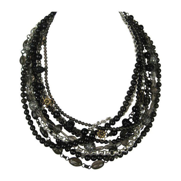 Stephen DWECK Sterling Multi 9 strand stone bib Necklace New Old Stock | From a unique collection of vintage multi-strand necklaces at https://www.1stdibs.com/jewelry/necklaces/multi-strand-necklaces/