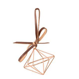 3D+Geometric+Ornaments:+Copper+Wire+Diamond,+2.4375+x+2.75+inches