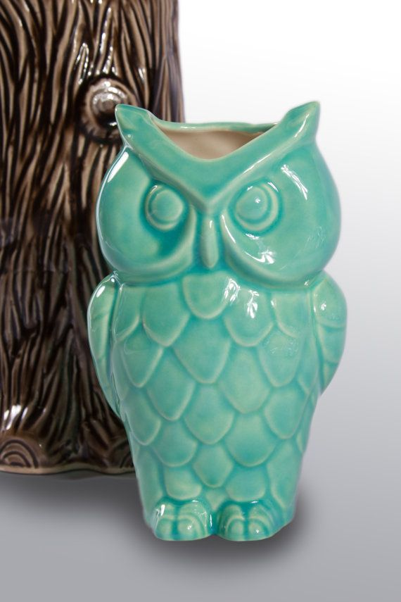 Vintage Ceramic Owl Vase Turquoise by modclay on Etsy, $28 ...