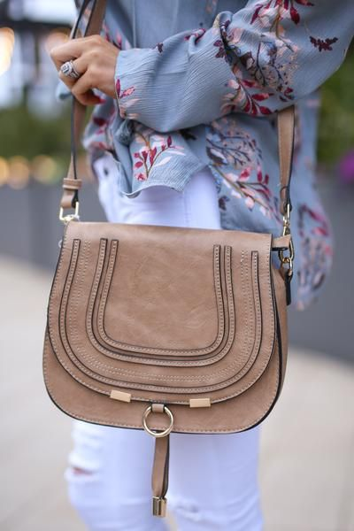Claire Crossbody Bag - Tan vegan leather flap saddle bag, front, Closet Candy Boutique