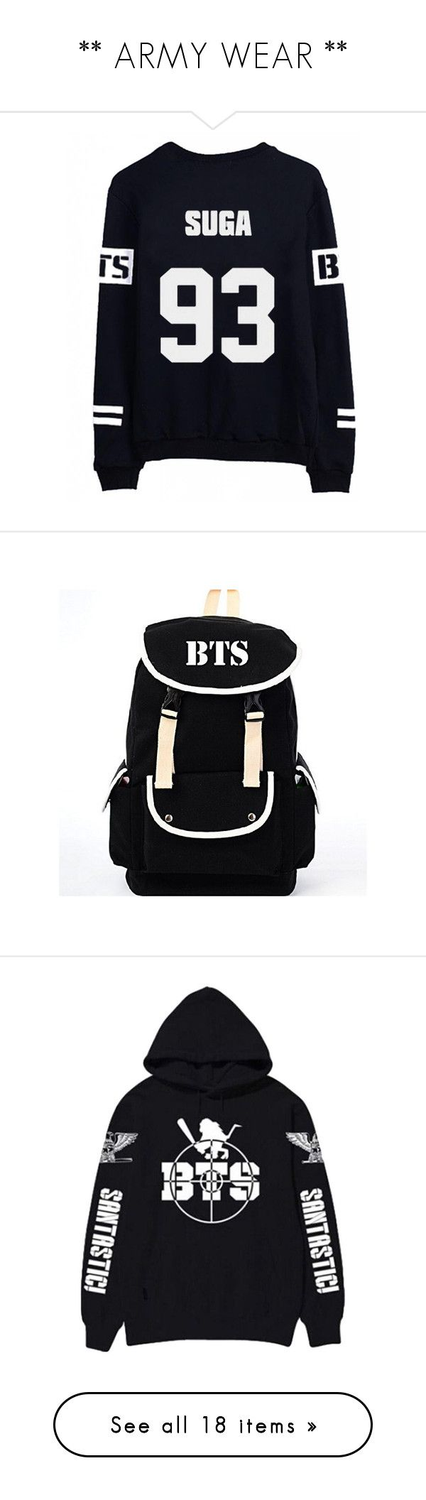"""""""** ARMY WEAR **"""" by seijous ❤ liked on Polyvore featuring tops, bags, canvas bag, black knapsack, black canvas rucksack, canvas rucksack, star bag, bts, shirts and baseball shirts"""