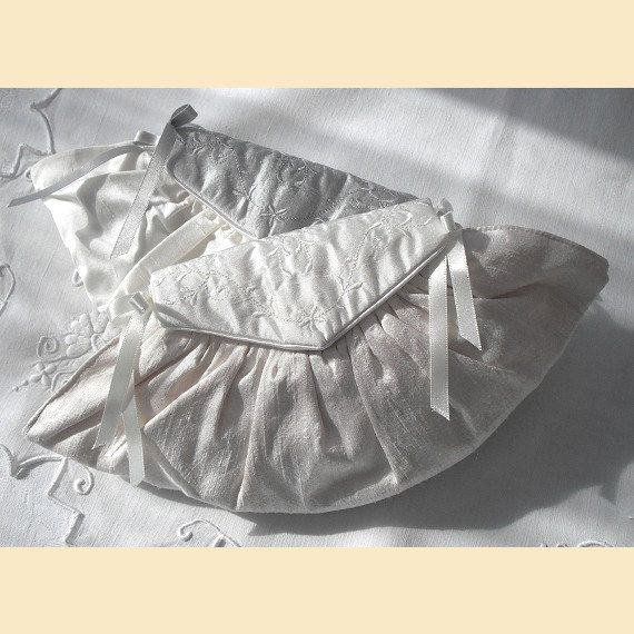 wedding purse in ivory silk with embroidered front flap.  Wedding purse with optional personalisation