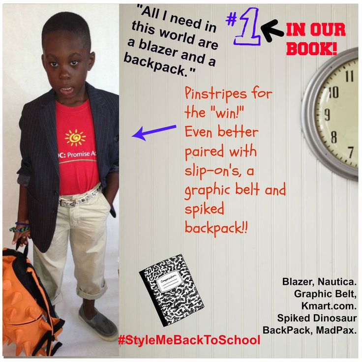 When a kid looks good, he/she learns good! All he needs in this world are a pinstriped blazer and a spiked backpack. Just a few tweaks and this uniform is transformed! Featuring @Kmart Fashion  #Kids #Fashion #Style #KidsFashion #KidsSwag #KidsTrends #Boys #BoysFashion #School #BackToSchool #SchoolUniforms #Moms #MommyMidday #StyleMeBackToSchool