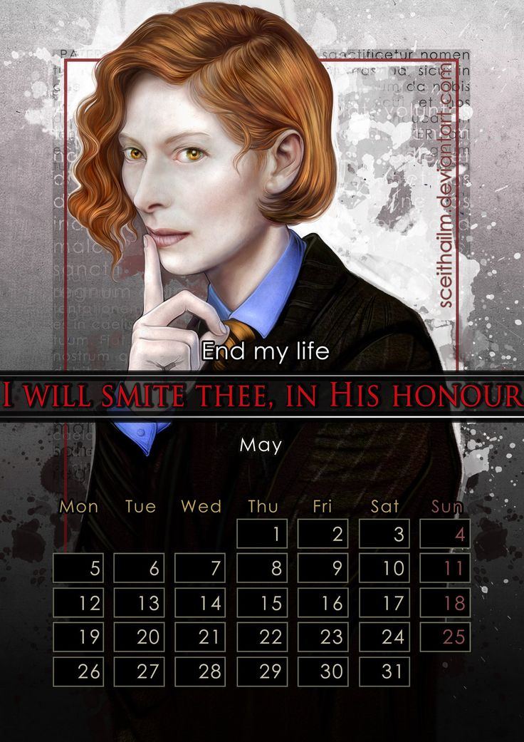 """Geek Calendar 2014: May by SceithAilm.deviantart.com on @deviantART - Featuring Gabriel from """"Constantine"""" as portrayed by Tilda Swinton. FYI: the whole Geek Calendar 2014 is FREE for download; just click on the pictures you want from here (http://sceithailm.deviantart.com/gallery/45711535) to download them."""