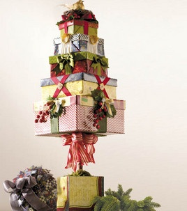 Stacked Christmas boxes - love this #holiday decor with @DCWV Inc.