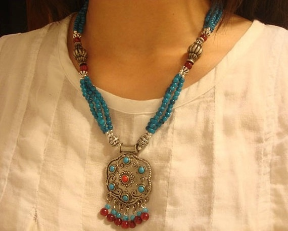 Handmade Nepalese Tibetan tribal turquoise by nepalesejewelry, $15.99