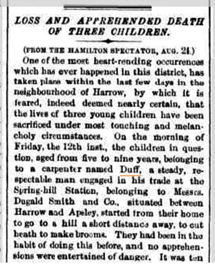 Article from The Argus newspaper 27th August 1864, anticipating the death of the Duff Children.