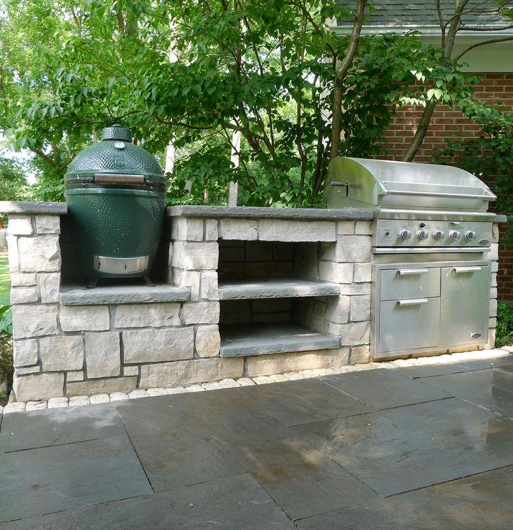 Outdoor grill green egg outdoor kitchen bluestone patio for Outdoorkuche mit grill