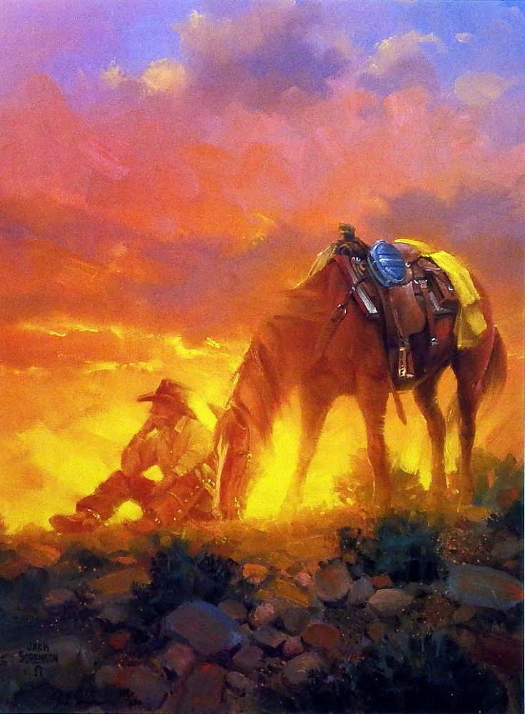 In Jack Sorenson's western print THE THINKER a cowboy sits alone with only his horse and his thoughts to keep him company after another hard day's work on the ranch.