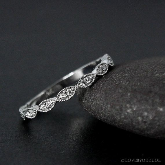 White Gold Double Diamond Leaf Milgrain Wedding Band, Vintage Wedding Bands, by lovebyohkuol