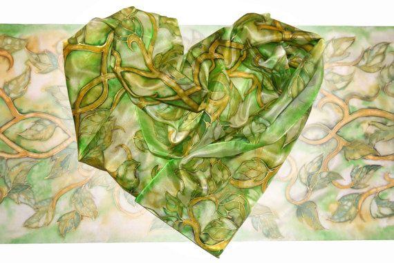 Large handpainted silk scarf  Elven Summer silk by JankaLart