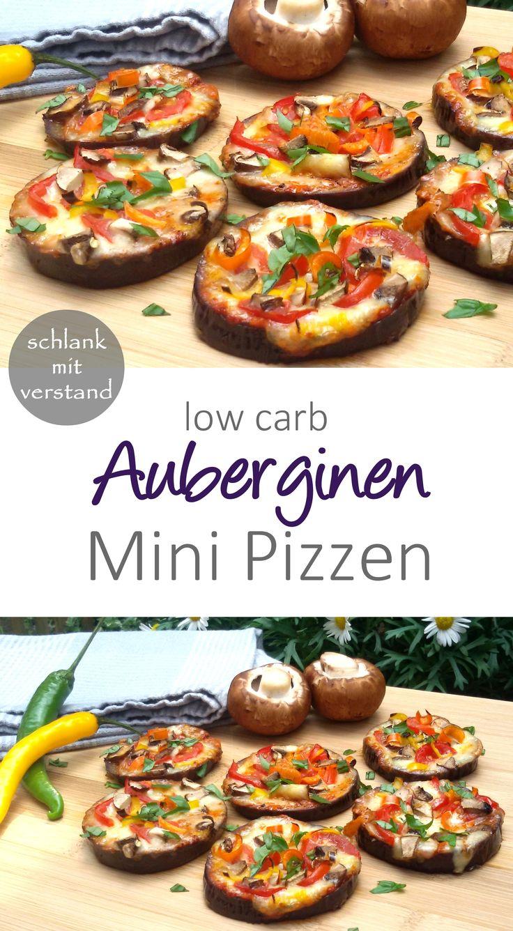 low carb Auberginen Mini Pizzen
