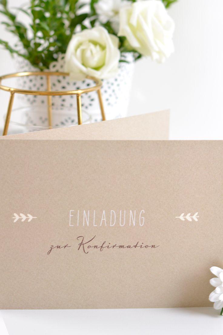 Konfirmationseinladung rustic love im kraftpapier look papeterie paperlove karte einladung konfirmation kartenmacherei