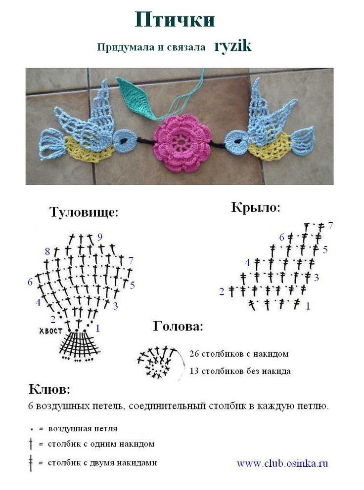 Crochet Applique Bird - Chart