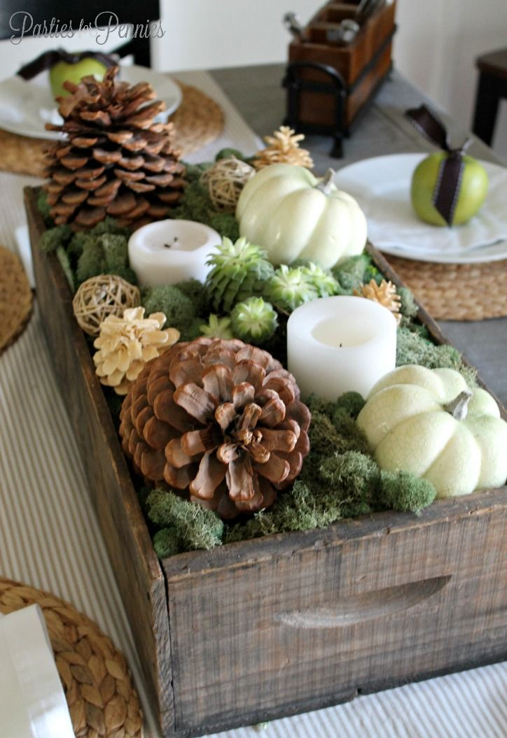 Want this box on my table only longer. Thanksgiving Table - natural centerpiece…