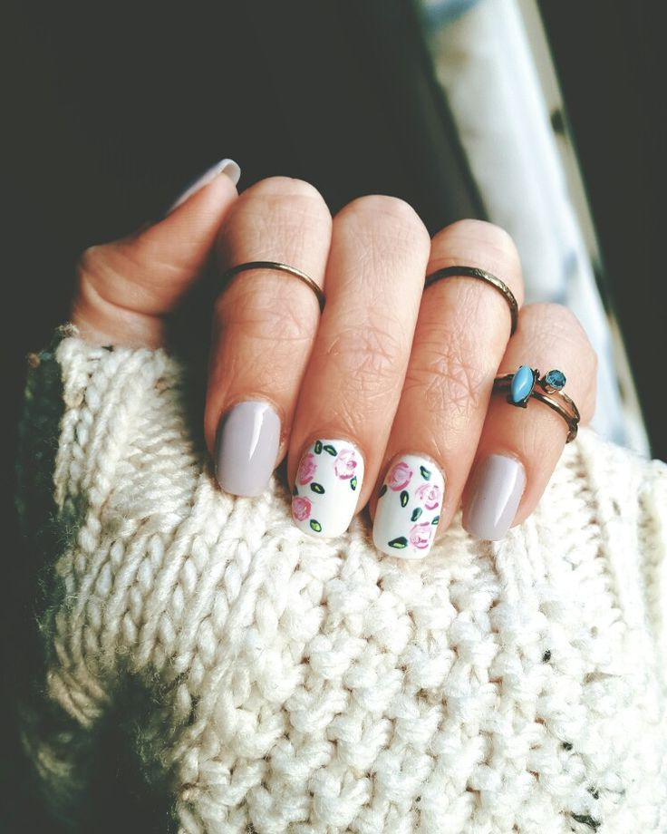 Powder gel | lexy Of London | roses nail Art | stack rings | nail trend 2016