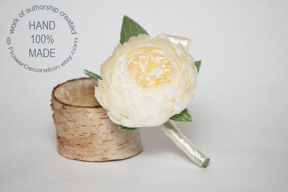 peony boutonniere wedding flower wedding peony by FlowerDecoration, $7.00