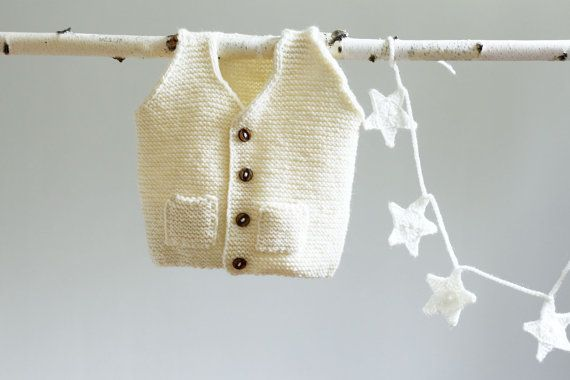 Hand Knitted Baby Vest Wool Baby Sweater by LalaKa on Etsy, $28.00