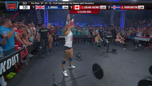 After a brutal descending ladder of calorie rows and thrusters, it was Sam Briggs who defeated Annie Thorisdottir and Camille Leblanc-Bazinet in the li