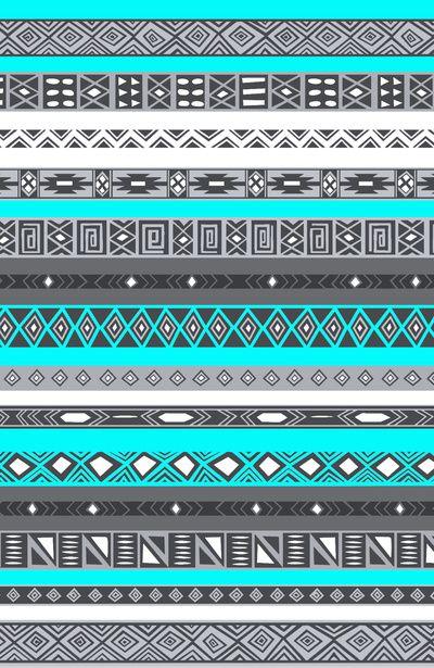 Ice Mint Blue Grey Aztec Pattern iPhone Art Print
