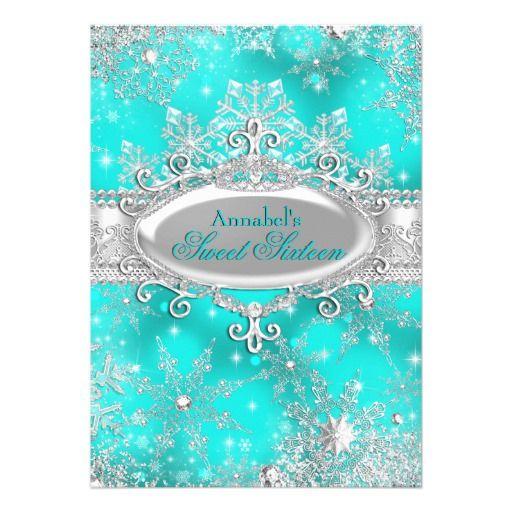 Aqua Teal Princess Winter Wonderland Sweet 16 Card